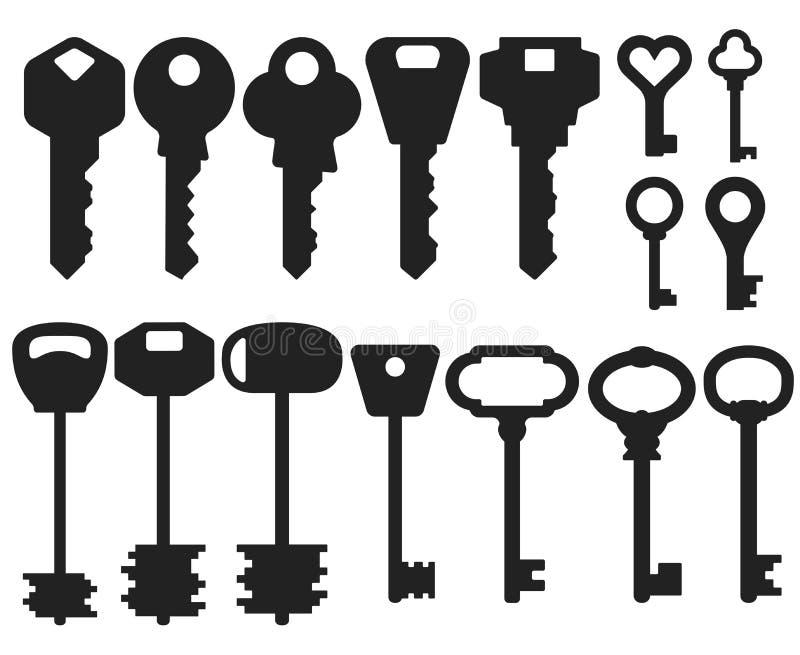 Chiude a chiave le forme differenti Insieme delle illustrazioni di vettore royalty illustrazione gratis