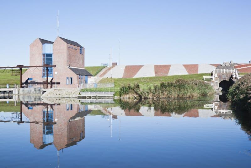 Chiusa di Noordpolderzijl, Groninga, Olanda immagine stock