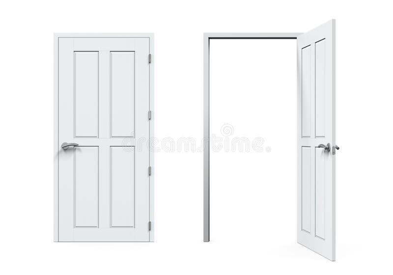 Chiuso E Porte Aperte Isolati Illustrazione di Stock - Illustrazione ...