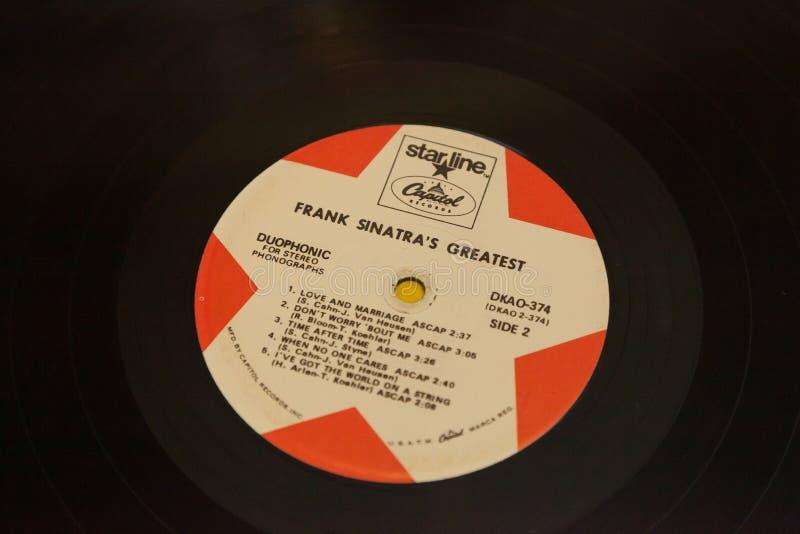 Chiusura classica di Vintage 33 RPM Frank Sinatra Record Album fotografia stock