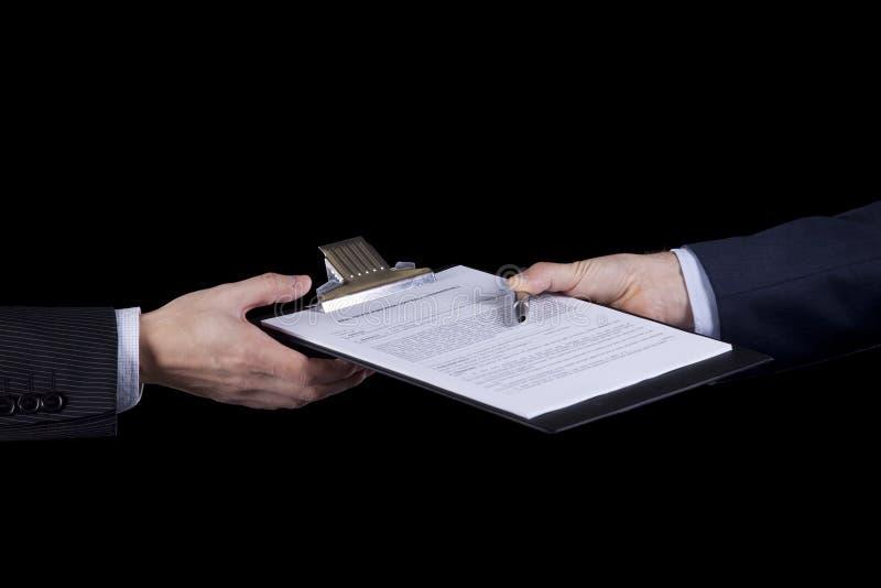Chiusura del contratto immagini stock libere da diritti