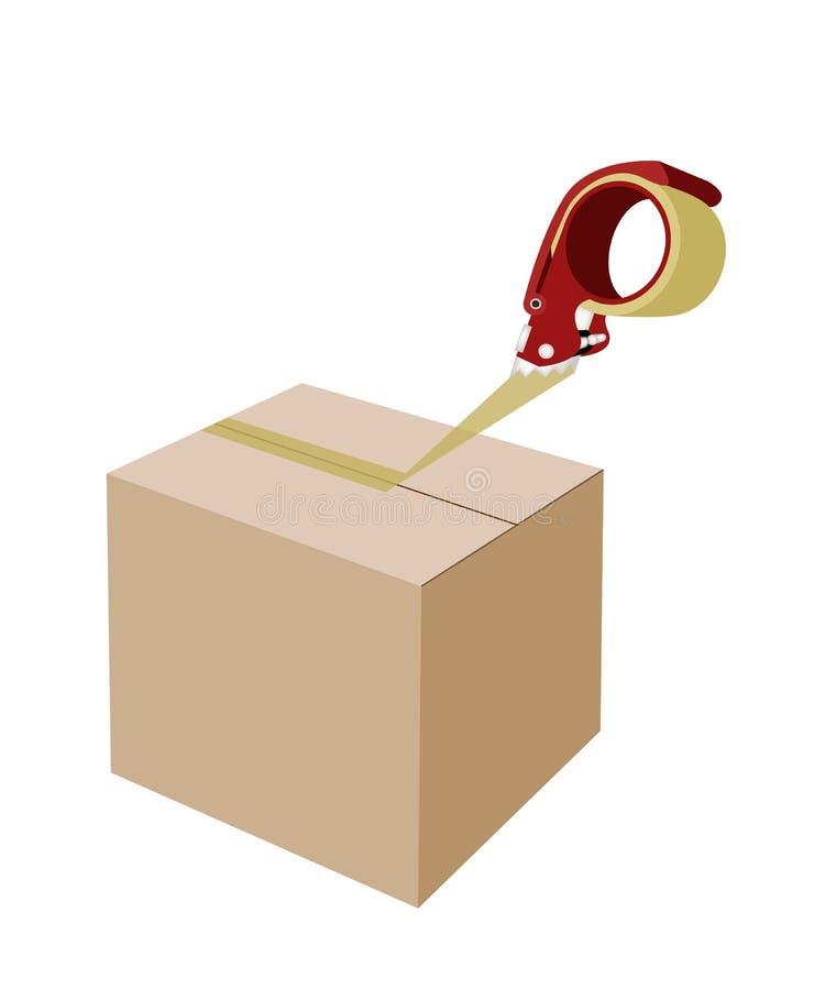 Chiusura della scatola di cartone con il nastro adesivo