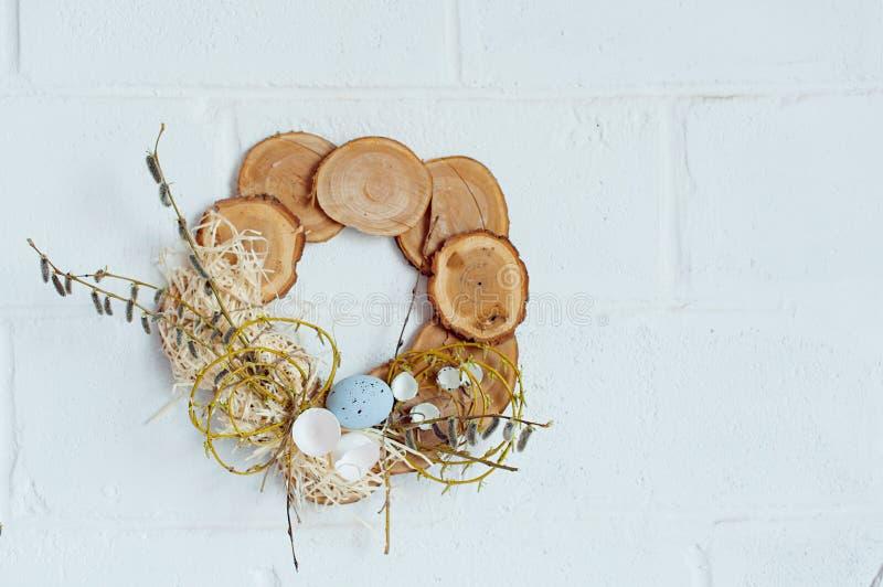 Chiusura delle uova di Pasqua Pasqua felice Decorazione di Pasqua fotografia stock libera da diritti