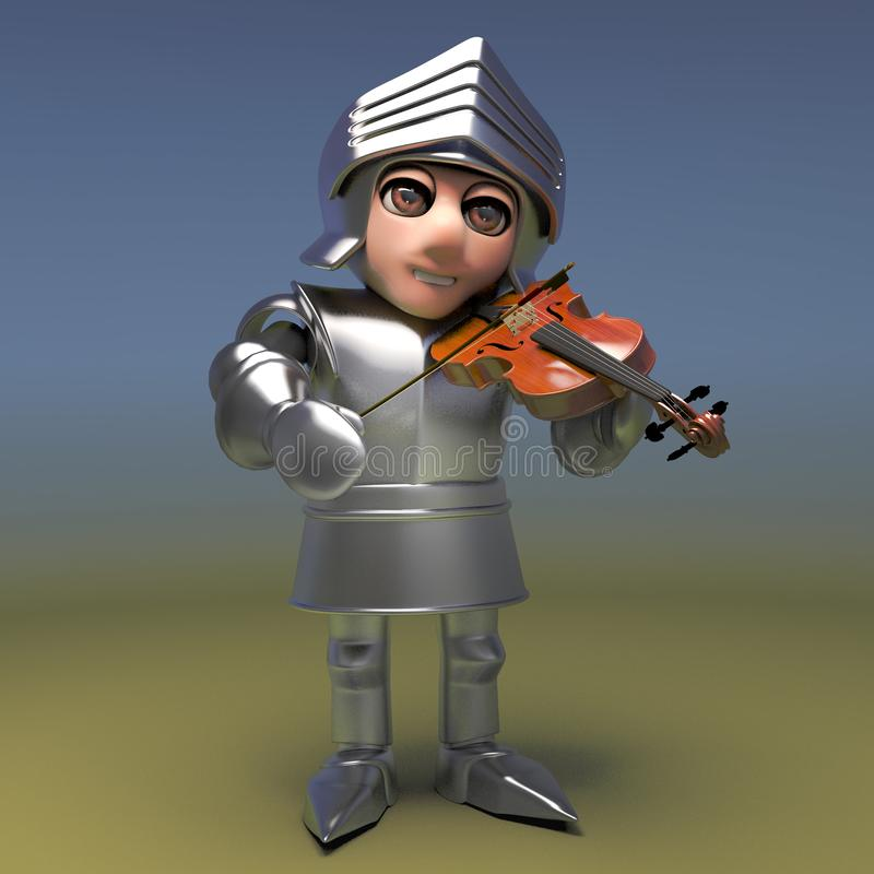 Chivalrous medieval knight is a part time violinist, 3d illustration. Render royalty free illustration