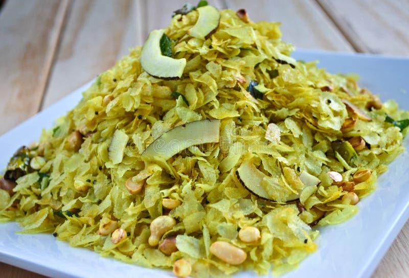 Chivda,传统印地安快餐 库存图片