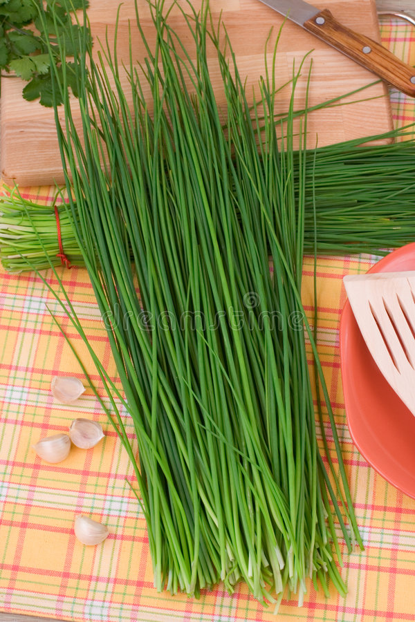 Chive. Fresh chive from market on a table royalty free stock photography