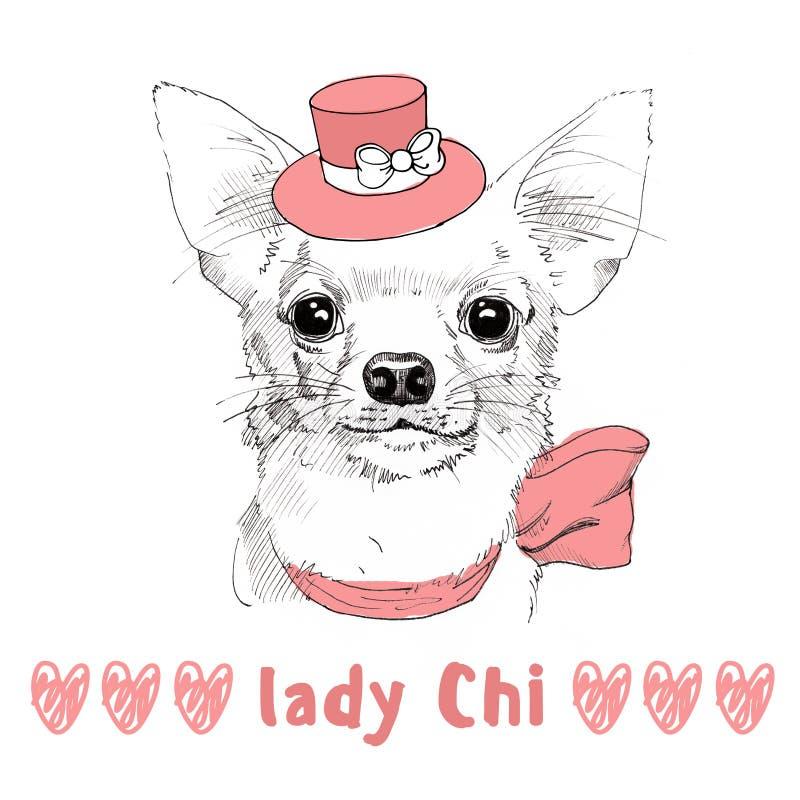Chiwawa blanc avec le portrait tiré par la main de chapeau rose illustration libre de droits
