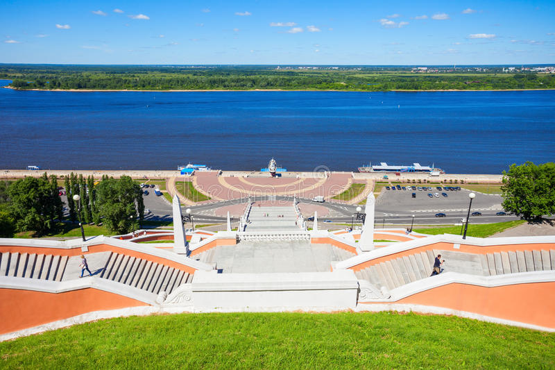 Chkalov trappuppgång, Nizhny Novgorod arkivbilder