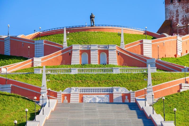 Chkalov trappuppgång, Nizhny Novgorod royaltyfri foto