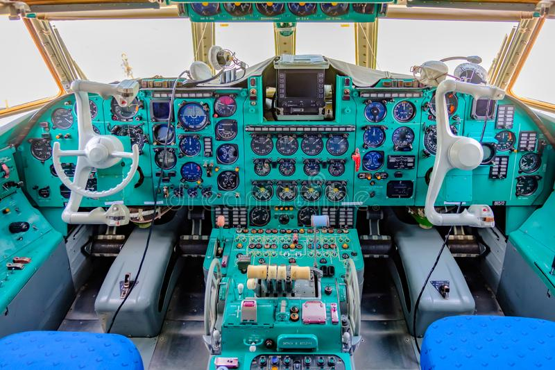 Chkalovski Airport, MOSCOW REGION, RUSSIA - AUGUST 19, 2018: Overview interrior pilot`s cockpit of military transport aircraft IL royalty free stock photos