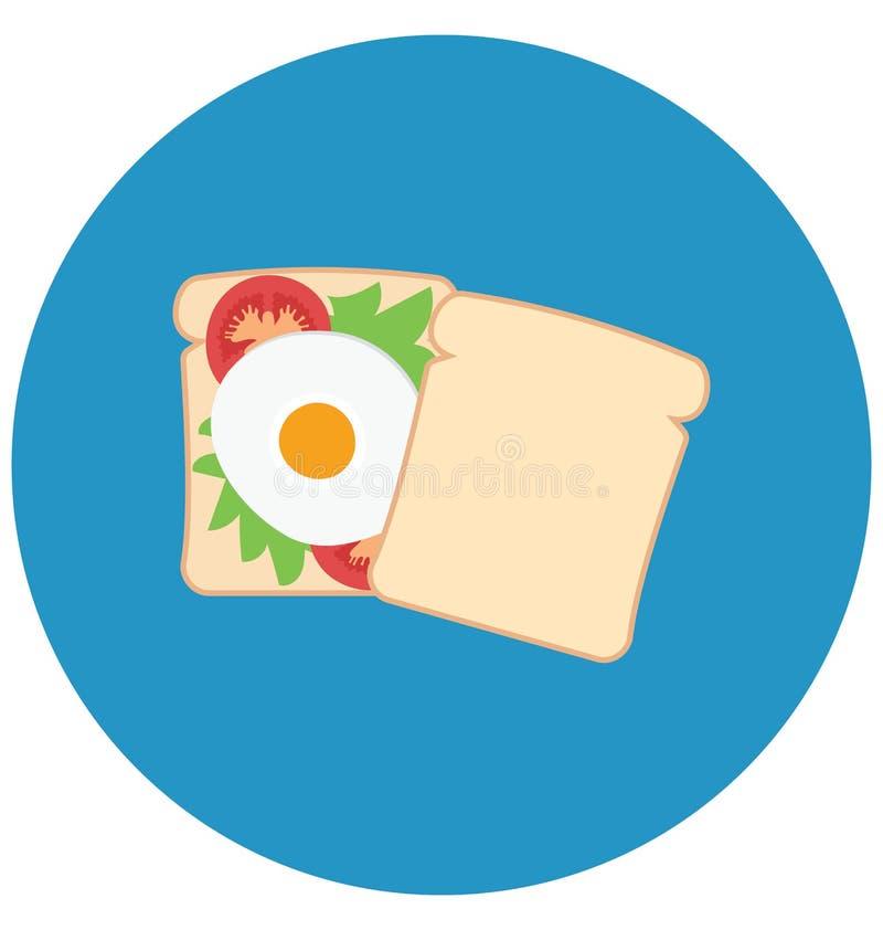 Chleb, śniadanie Odizolowywał kolor Wektorową ikonę która może łatwo redagować lub modyfikująca Chleb, śniadanie Odizolowywał kol ilustracji