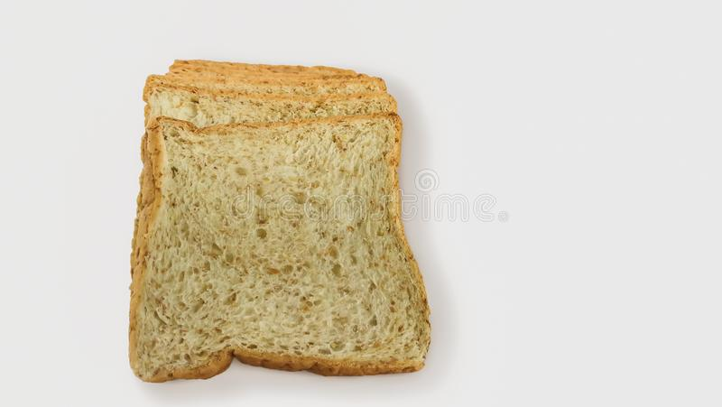 Chleb, bochenek chleb, Ciie Za, Pokrojony chleb, Biały tło obraz royalty free