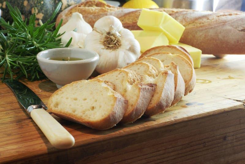 chleb czosnkowy rosemary krajobrazu oleju zdjęcie stock