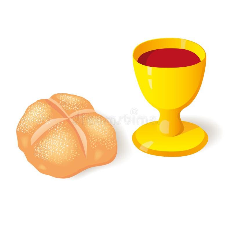 Chleb i filiżanka ilustracji