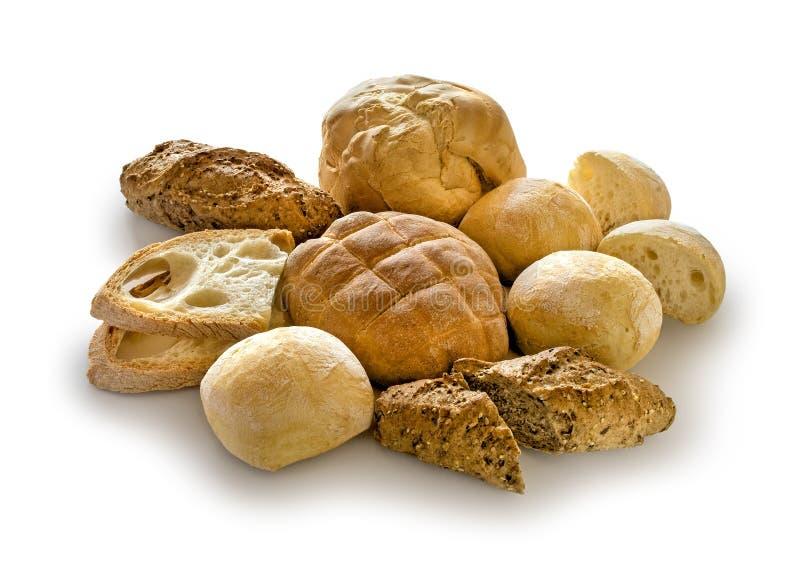 Chleb, mieszanka na bielu obraz stock