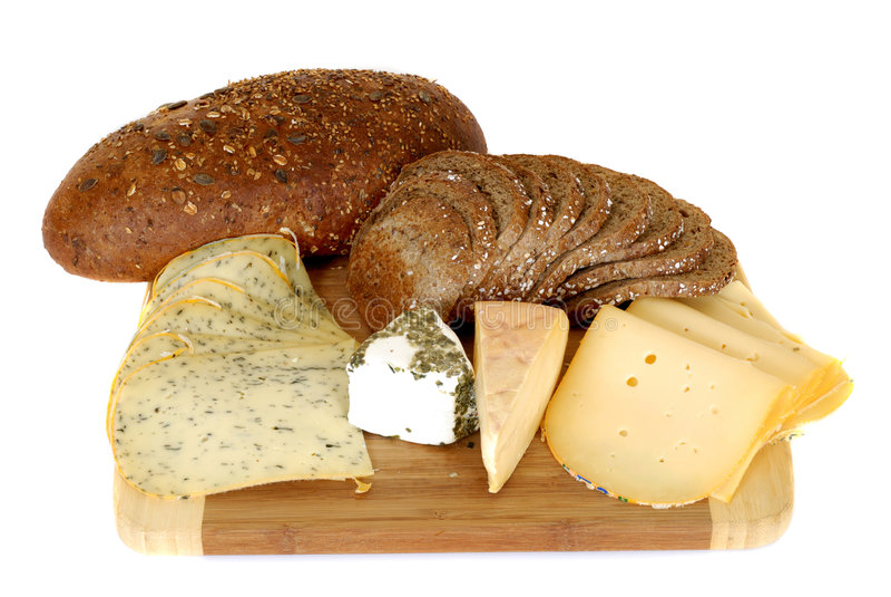 chleb mieszkanie sera. obrazy stock
