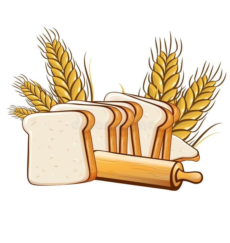 Chleb z toczną szpilką odizolowywającą na białym tle ilustracji