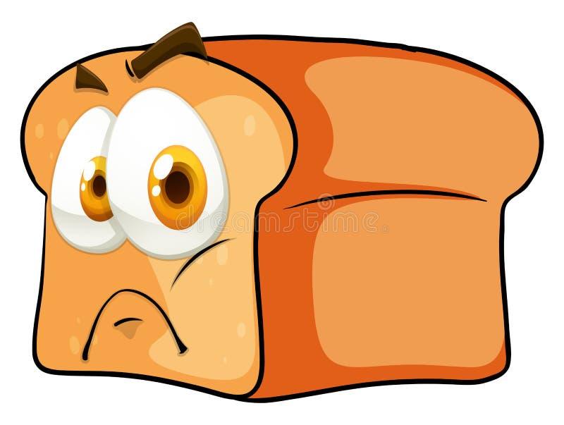 Download Chleb z twarzą na bielu ilustracja wektor. Ilustracja złożonej z emocja - 57657872