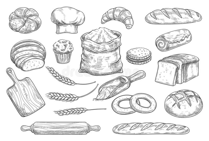Chleba i babeczki nakreślenie jedzenie ilustracja wektor
