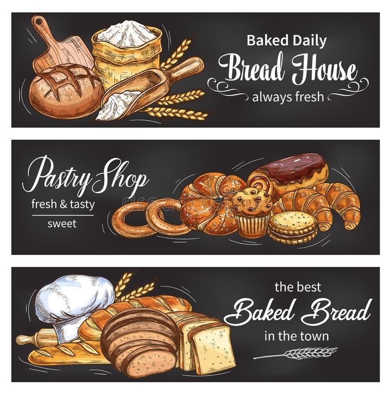 Chleba i babeczki sztandar dla piekarni robi zakupy szablon ilustracji