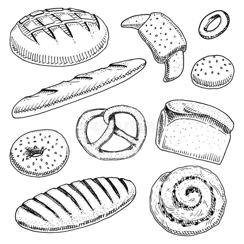 Chleba i ciasta pączek, tęsk bochenek, baguette, babeczka, cukierki precel i babeczka, lub grawerująca ręka rysująca w starym nak ilustracja wektor