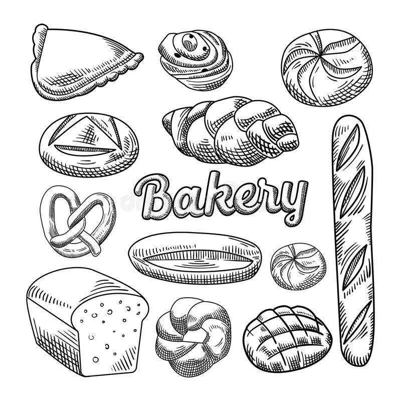 Chlebowa Karmowa ręka Rysujący piekarni Doodle Baguette Bagel ciasta nakreślenie ilustracja wektor