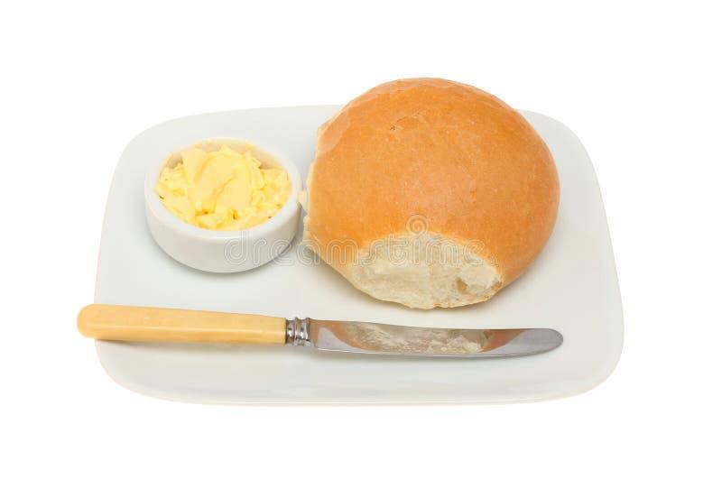 Chlebowa rolka i masło fotografia royalty free