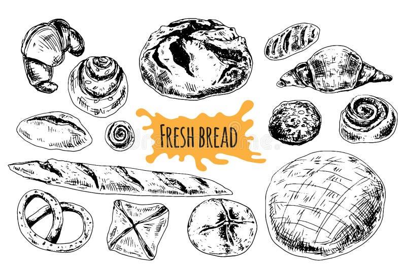 Chlebowa wektorowa ręka rysująca ustalona ilustracja royalty ilustracja