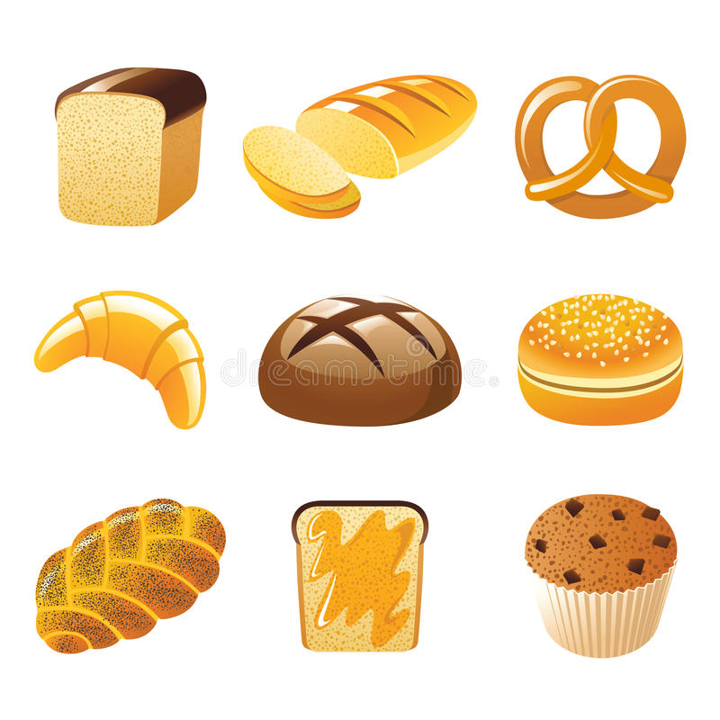 chlebowe ikony ilustracja wektor