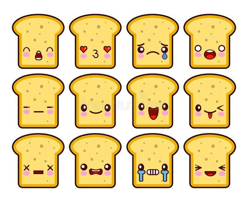 Chlebowego plasterek grzanki kreskówki maskotki charakteru śmieszna kreskówka ustawiająca z różnymi emocjami na kawaii twarzy Pła ilustracja wektor