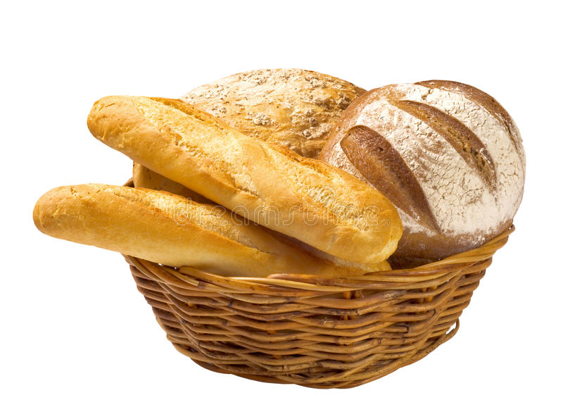 Chlebowi bochenki i baguettes w koszu zdjęcie royalty free