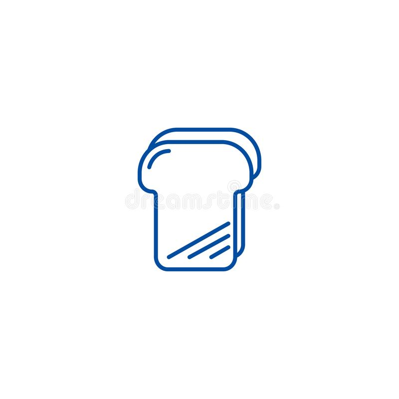 Chlebowy grzanki linii ikony pojęcie Chlebowej grzanki płaski wektorowy symbol, znak, kontur ilustracja royalty ilustracja