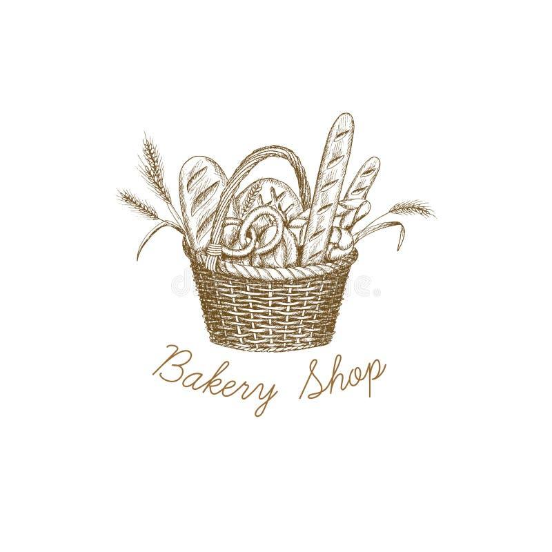 Chlebowy kosz royalty ilustracja