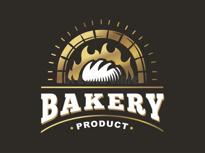 Chlebowy logo - wektorowa ilustracja Piekarnia emblemat na czarnym tle ilustracji