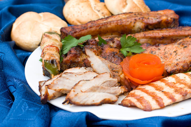 chlebowy smakosz próżnuje mięso obraz stock