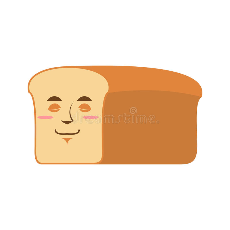 Chlebowy Sypialny Emoji kawałek chleb uśpiona emocja odizolowywająca ilustracja wektor