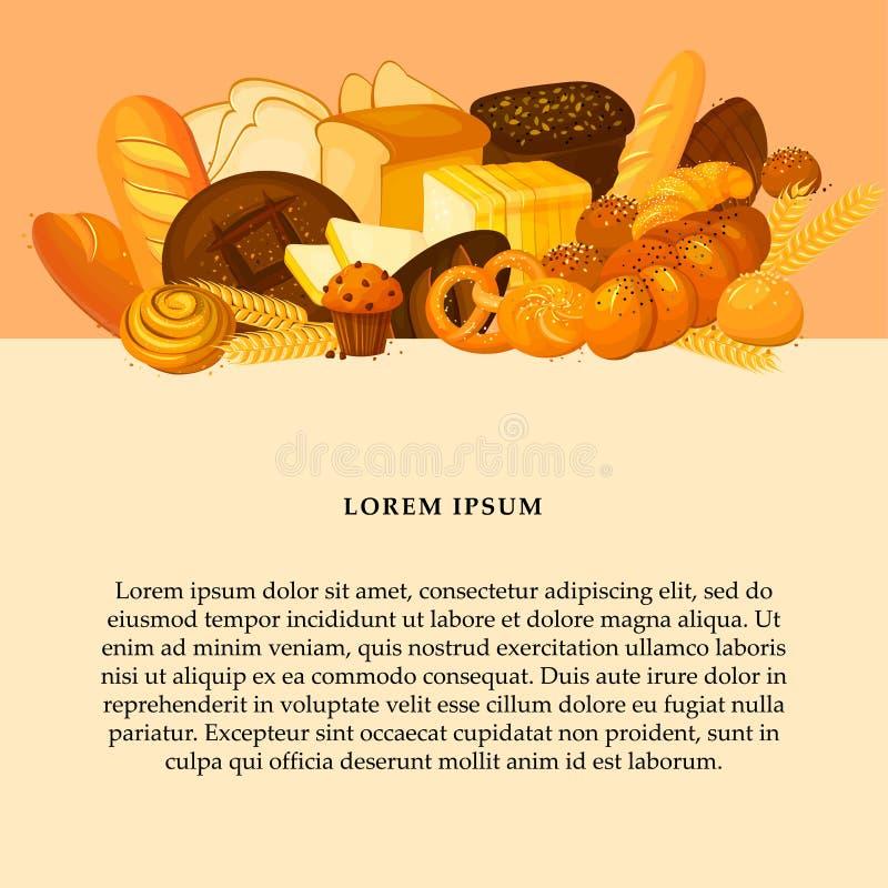 Chlebowy sztandar dla piekarni i ciasto sklepu szablonu ilustracji