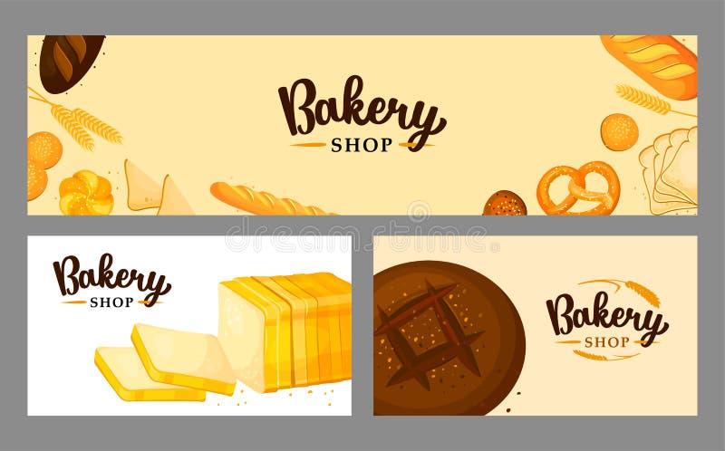 Chlebowy sztandar ustawiający dla piekarni i ciasto sklepu royalty ilustracja