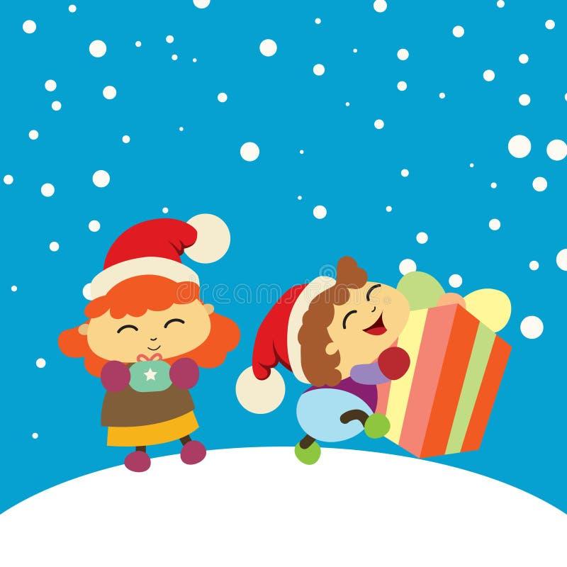 Chlidren feliz obteve um presente Vetor do fundo do Natal ilustração royalty free