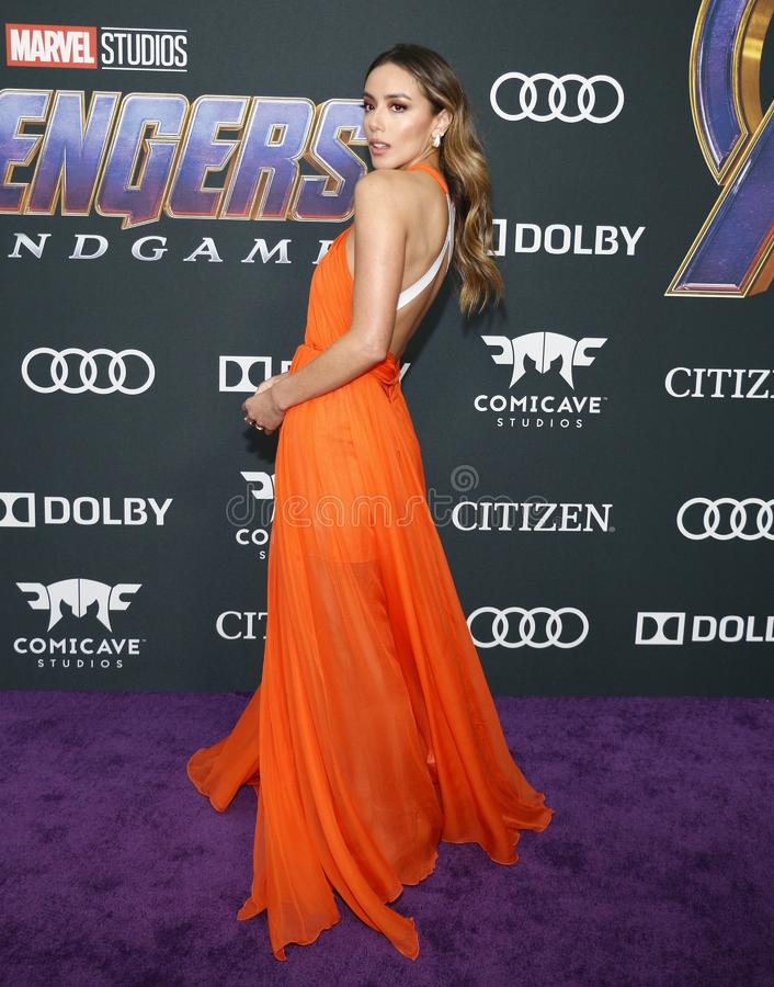 Chloe Bennet. At the World premiere of `Avengers: Endgame` held at the LA Convention Center in Los Angeles, USA on April 22, 2019 stock photos
