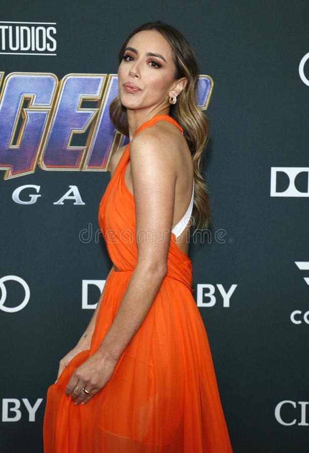 Chloe Bennet. At the World premiere of `Avengers: Endgame` held at the LA Convention Center in Los Angeles, USA on April 22, 2019 royalty free stock photo