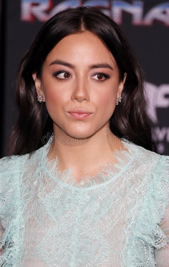 Chloe Bennet. At the World premiere of `Thor: Ragnarok` held at the El Capitan Theatre in Hollywood, USA on October 10, 2017 royalty free stock photos