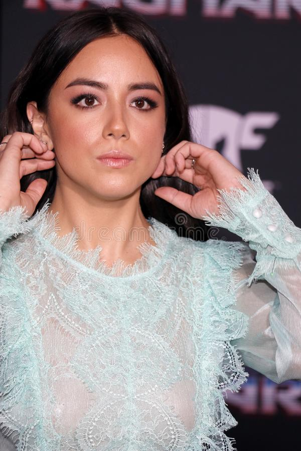 Chloe Bennet. At the World premiere of `Thor: Ragnarok` held at the El Capitan Theatre in Hollywood, USA on October 10, 2017 royalty free stock photography