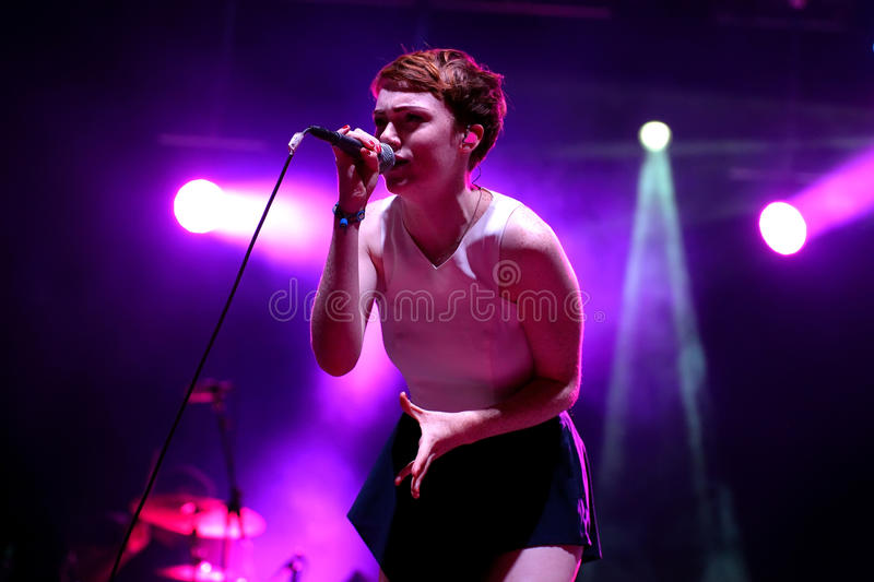 Chloe Howl (British singer) performance at FIB Festival. BENICASSIM, SPAIN - JULY 20: Chloe Howl (British singer) performance at FIB Festival on July 20, 2014 in royalty free stock photos