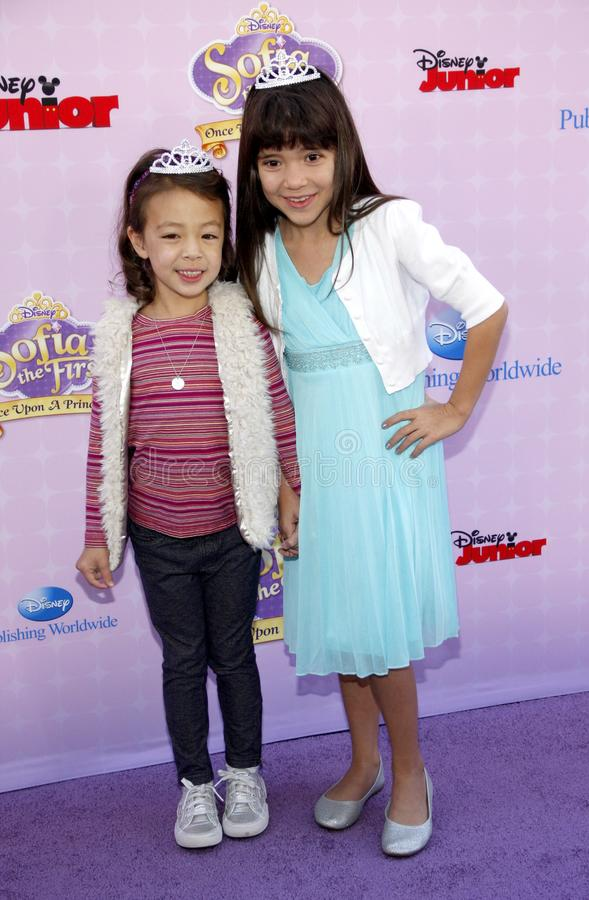 Chloe Noelle and Aubrey Anderson-Emmons. At the Los Angeles premiere of `Sofia the First: Once Upon a Princess` held at the Disney Studios in Los Angeles stock image
