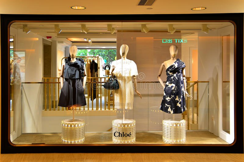Chloe retail outlet. Chloé, the paris based ready-to-wear apparel and fashion accessories retail outlet at the prince's building in central, hong kong stock images