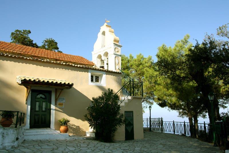 Chlomos,科孚岛,希腊 库存照片