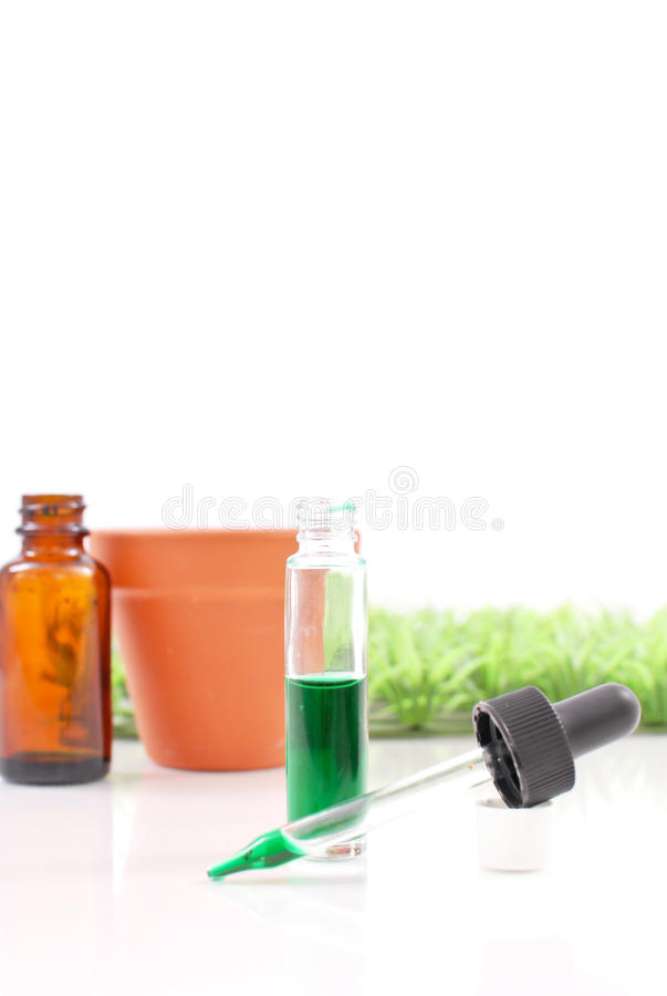 Chlorophyll Extraction. Green Liquid Next To Grass And Flower Pot stock images