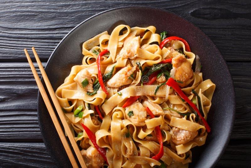 Chmielni kluski moścą kee Mao z kurczakiem, basilem, chili pieprzem i kumberlandem w górę talerza, dalej horyzontalny odg?rny wid fotografia stock
