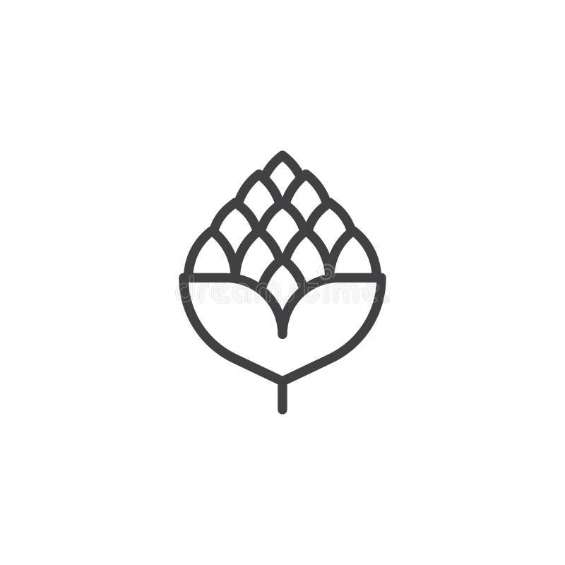 Chmielu konturu piwna ikona ilustracja wektor